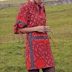 Anthropologie Red Silk Maeshowe Button Up Dress